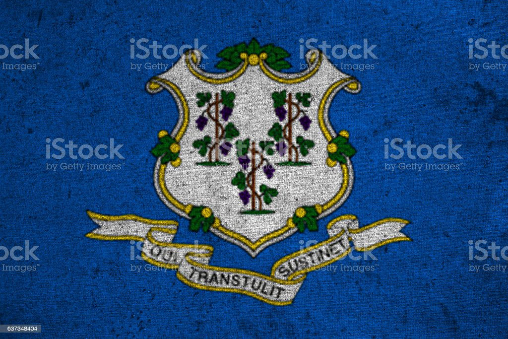 graphic american state grunge flag of Connecticut stock photo