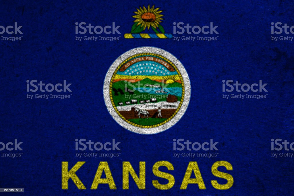 graphic american state grunge flag of kansas stock photo
