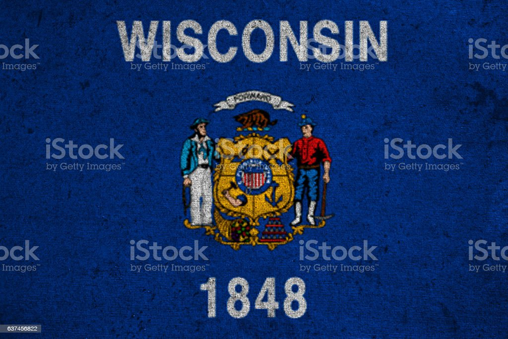 graphic american state grunge flag of wisconsin stock photo