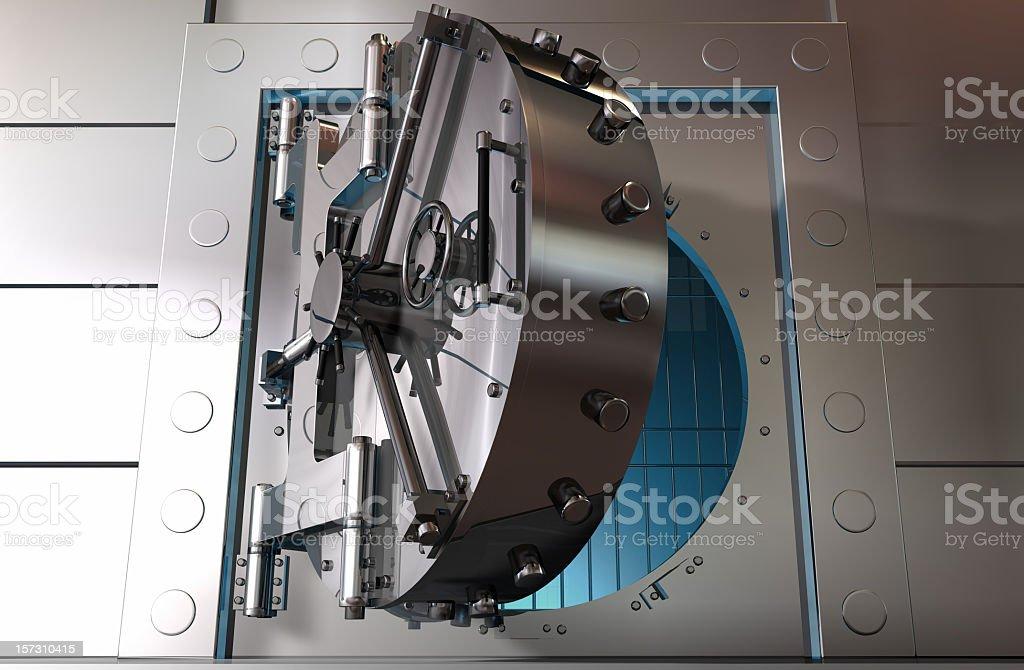 Graphic art of a partially opened steel bank vault door stock photo