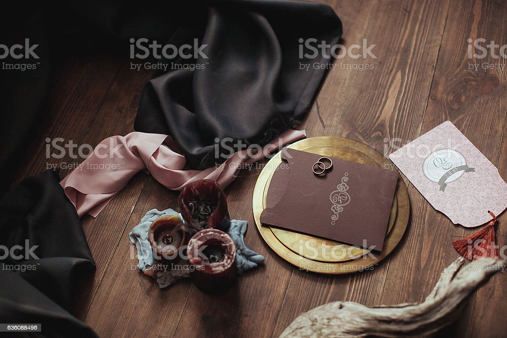 Graphic arts of beautiful wedding pink and brown cards, golden stock photo