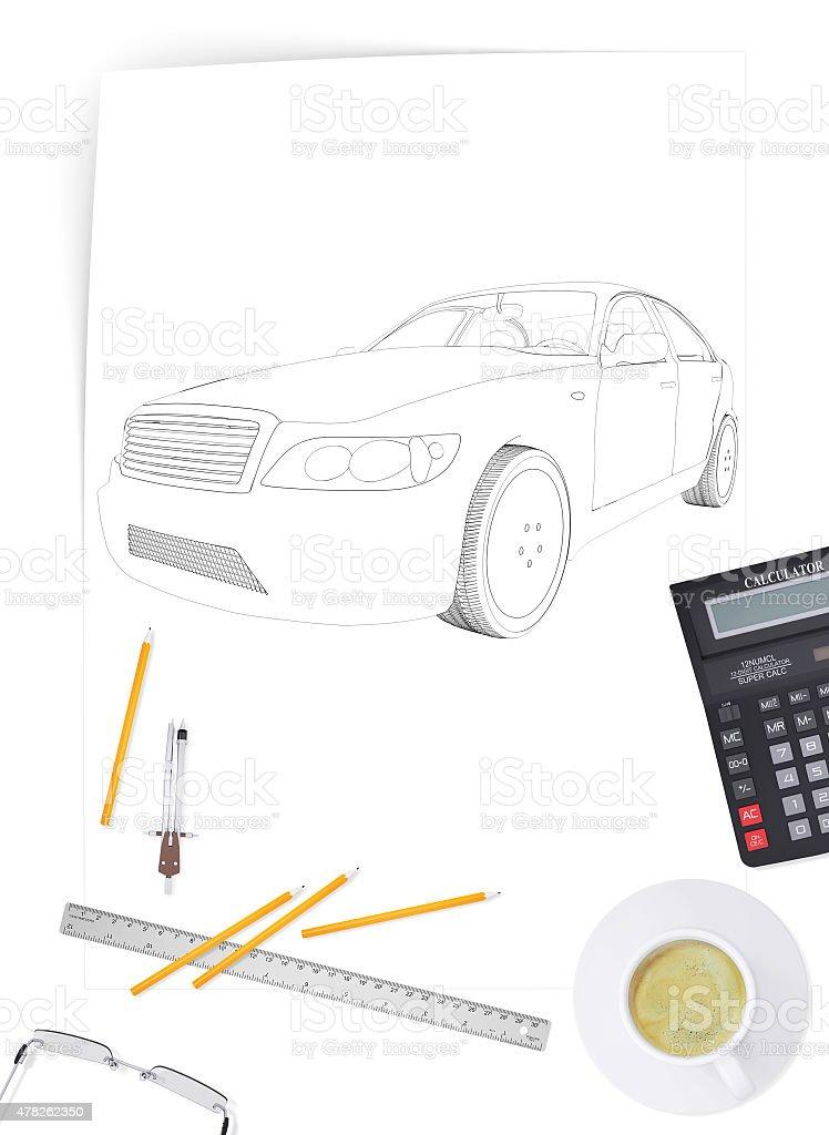 Graphic car model stock photo