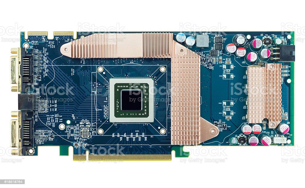 graphic card isolated on white background stock photo