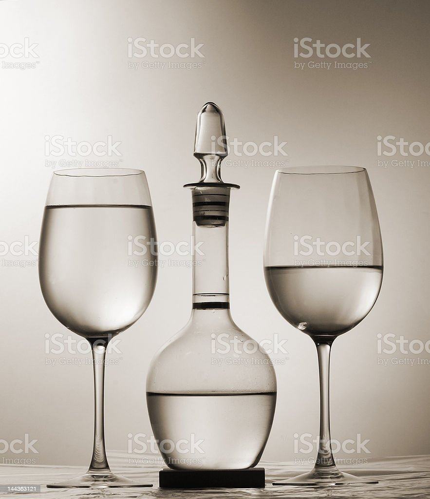 Graphic composition - two wineglasses and decanter royalty-free stock photo