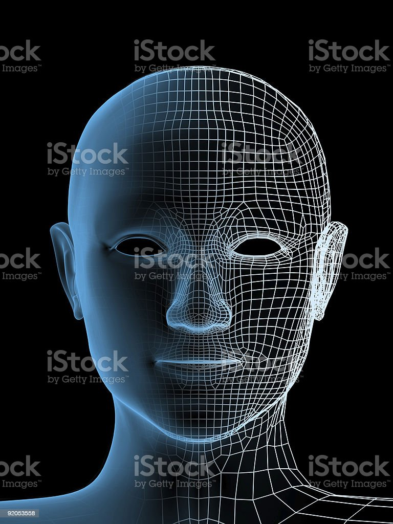 Graphic computer artwork of transparent human head royalty-free stock photo