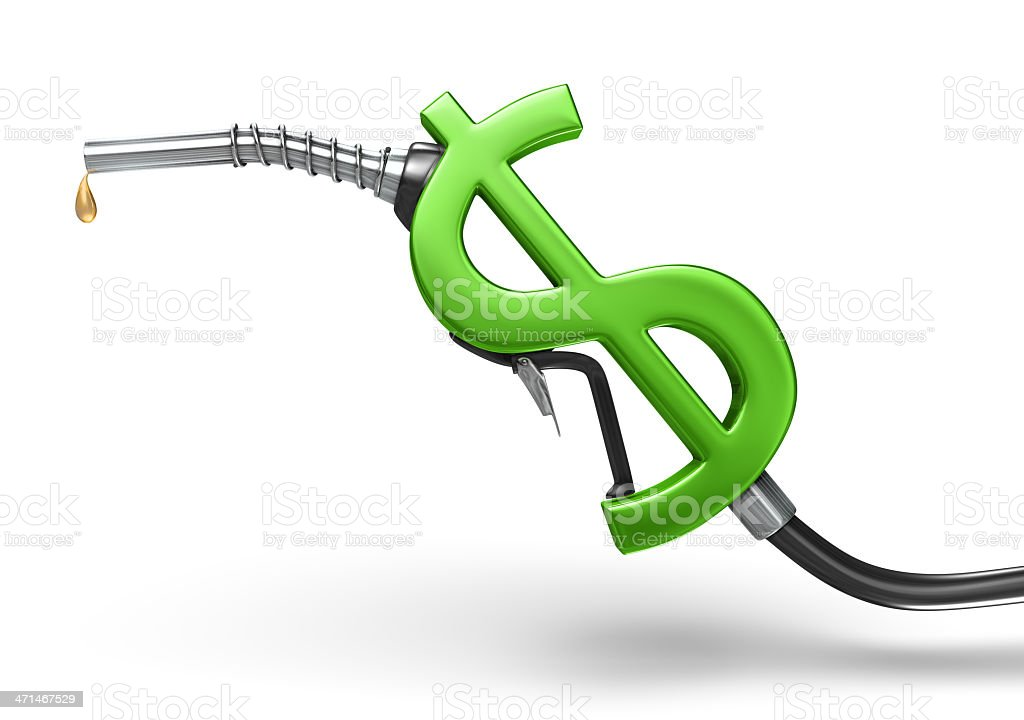 Graphic depicting a green dollar sign on a gas pump handle stock photo