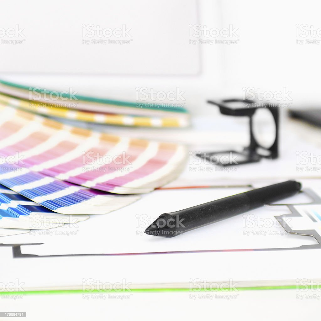 Graphic design and printing concept with a pen stock photo