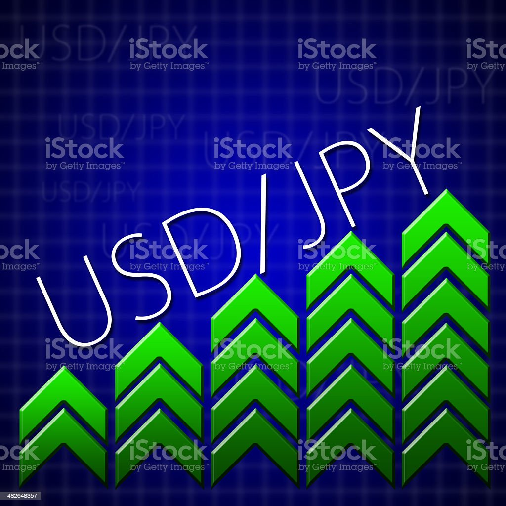 Graphic design trading related illustrating currency growth stock photo