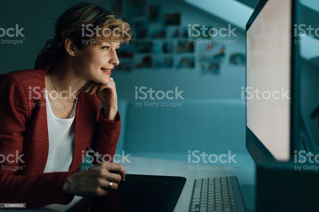 Graphic Designer At Work. stock photo