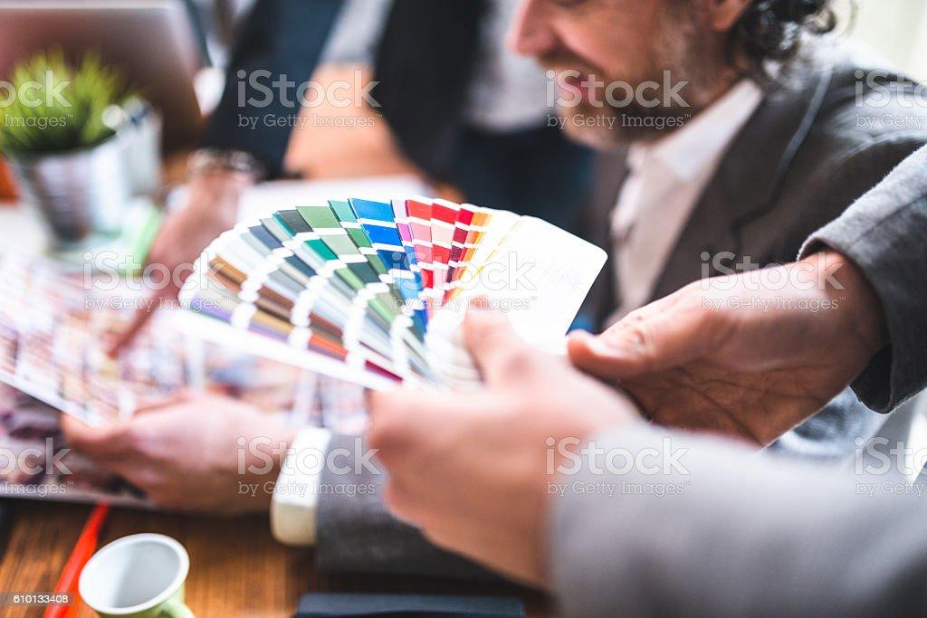 graphic designer at work stock photo
