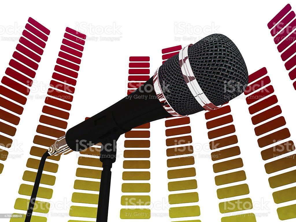Graphic Equalizer And Mic Shows Rock Music Soundtrack Or Concert stock photo