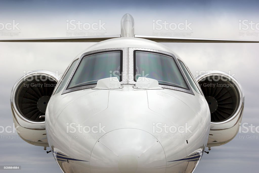 Graphic Head On  Perspecive of Business Jet Aircraft stock photo