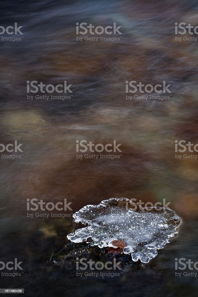 graphic ice flower in colored river background royalty-free stock photo