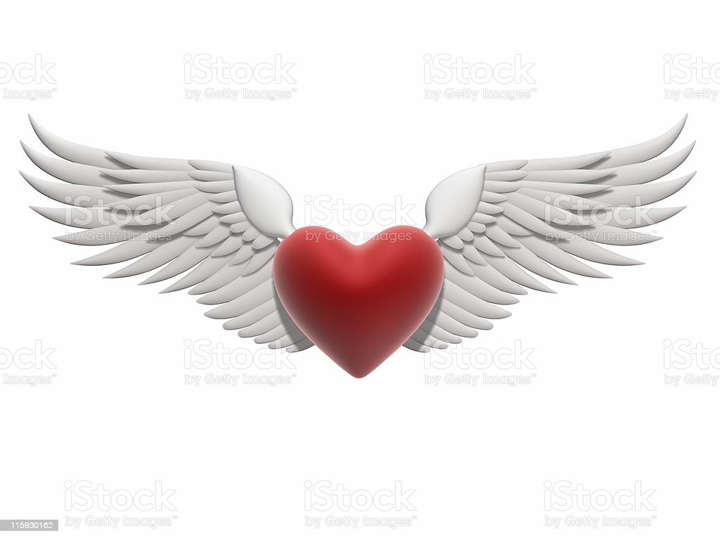 Graphic illustration of a red heart with white angel wings royalty-free stock photo