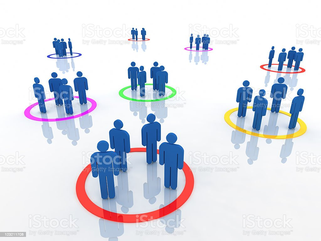 Graphic illustration showing stickmen organized in teams royalty-free stock photo