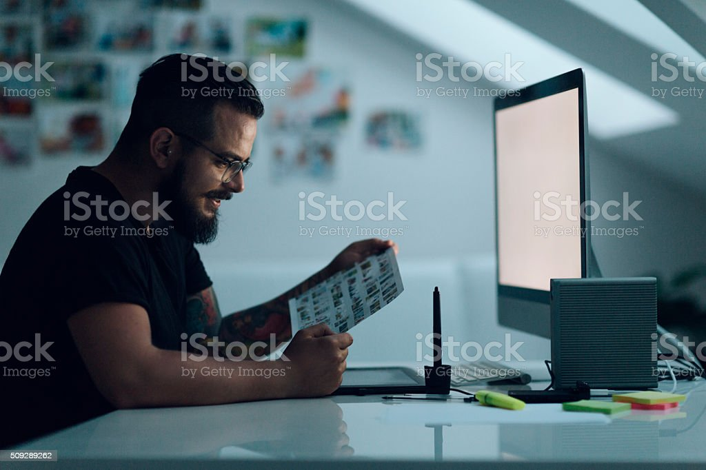 Graphic Illustrator At Work stock photo
