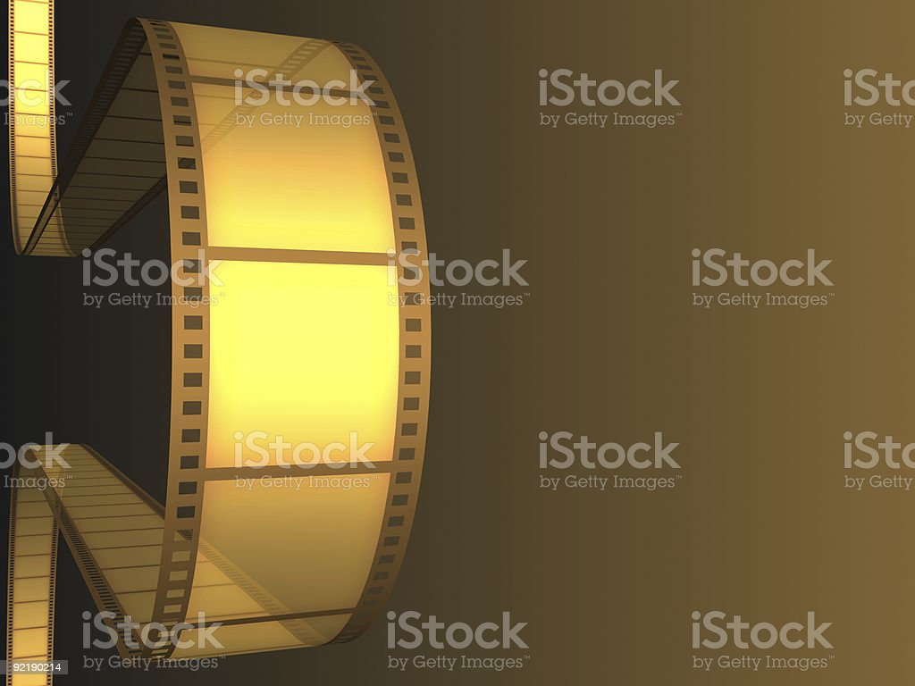 Graphic image of golden film with a brown background stock photo