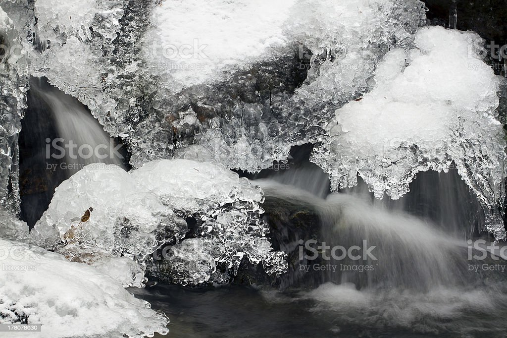 graphic lace detail of ice in flowing water royalty-free stock photo