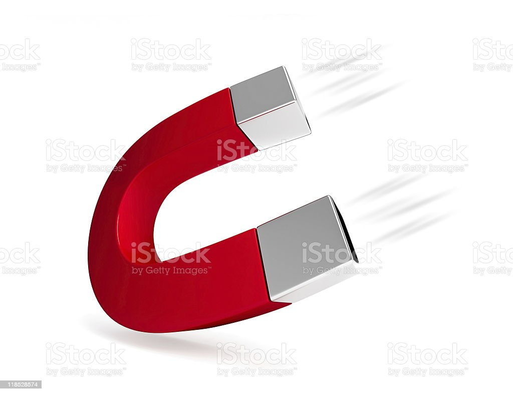 3D graphic magnet isolated on white background royalty-free stock photo