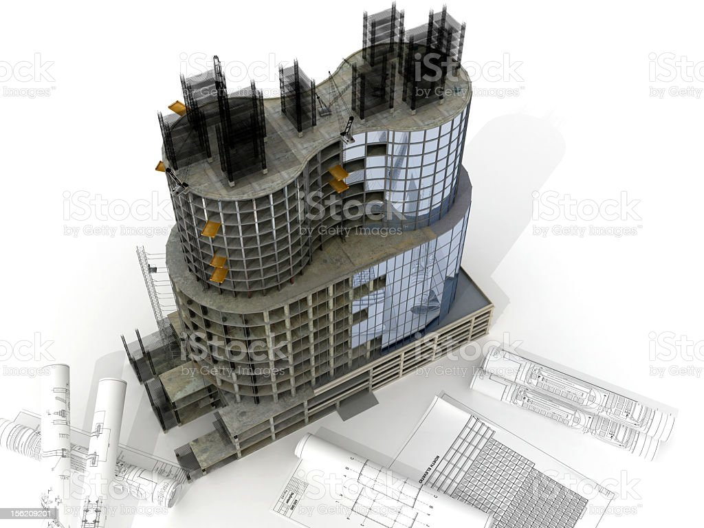 Graphic model of building in construction with blueprints royalty-free stock photo