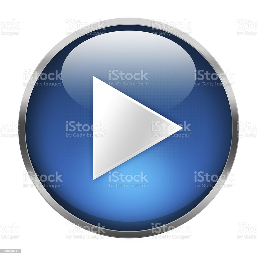 Graphic of a blue play button on white stock photo