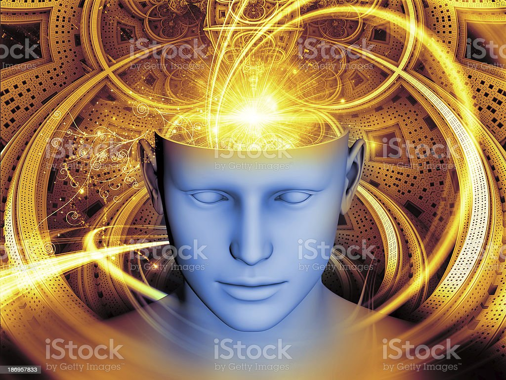 Graphic of a human head with lights swirling out the top royalty-free stock vector art