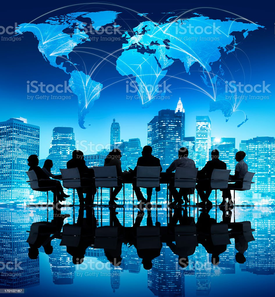 Graphic of a meeting with New York skyline and world map royalty-free stock photo