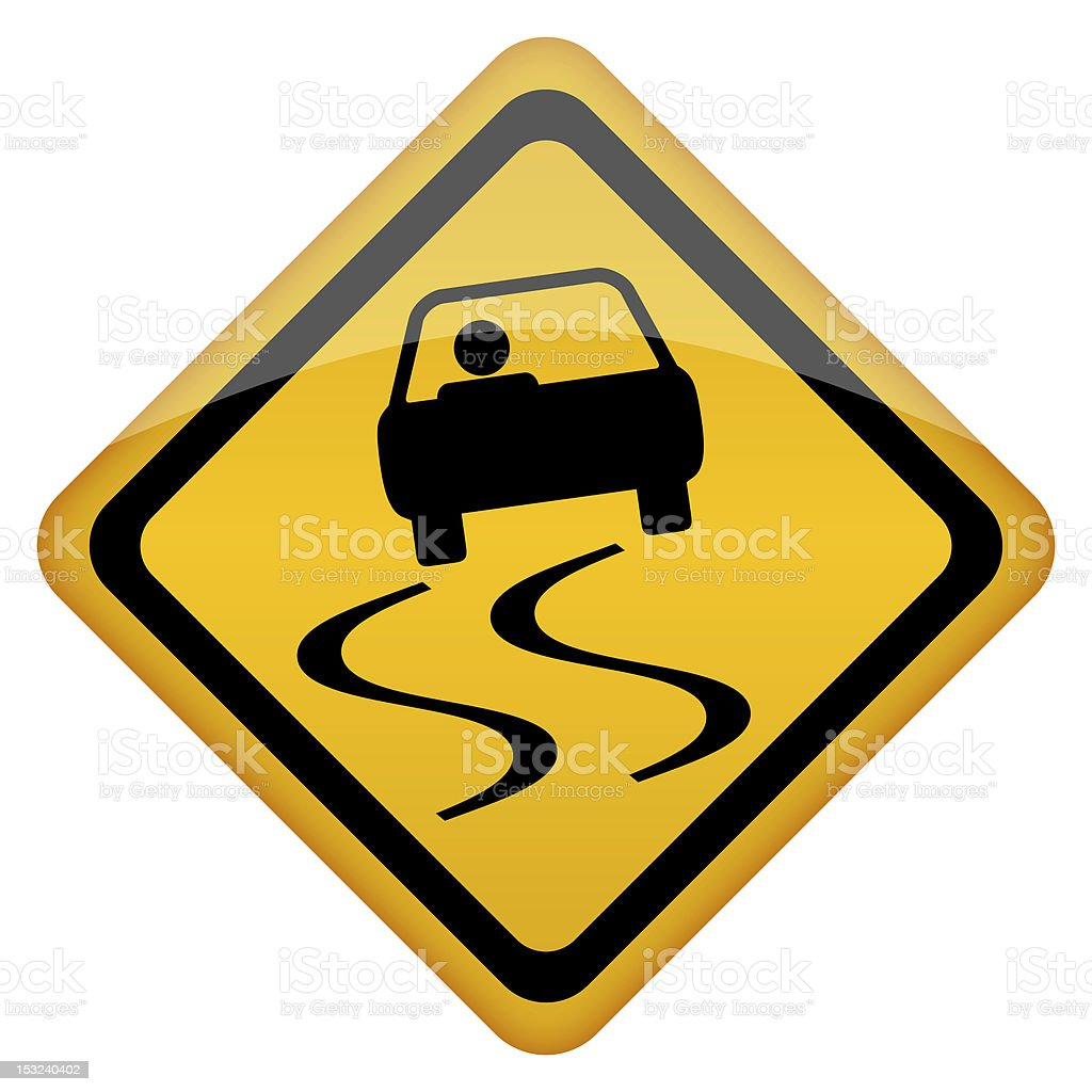 A graphic of a road sign showing slippery surface stock photo