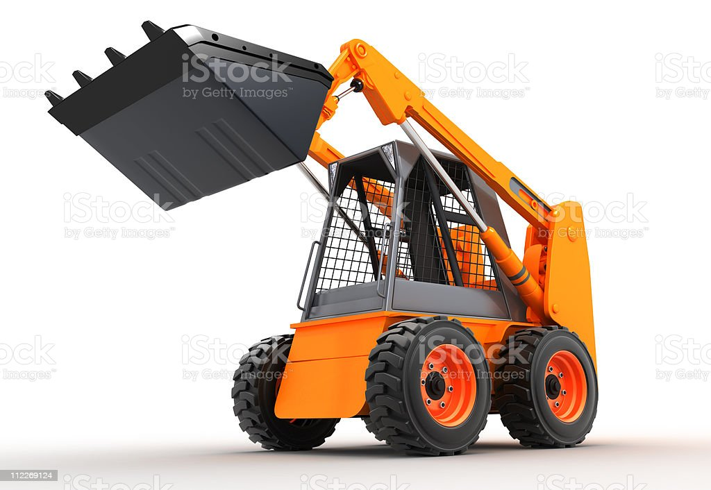 3D graphic of a skid steer loading with truck bucket stock photo