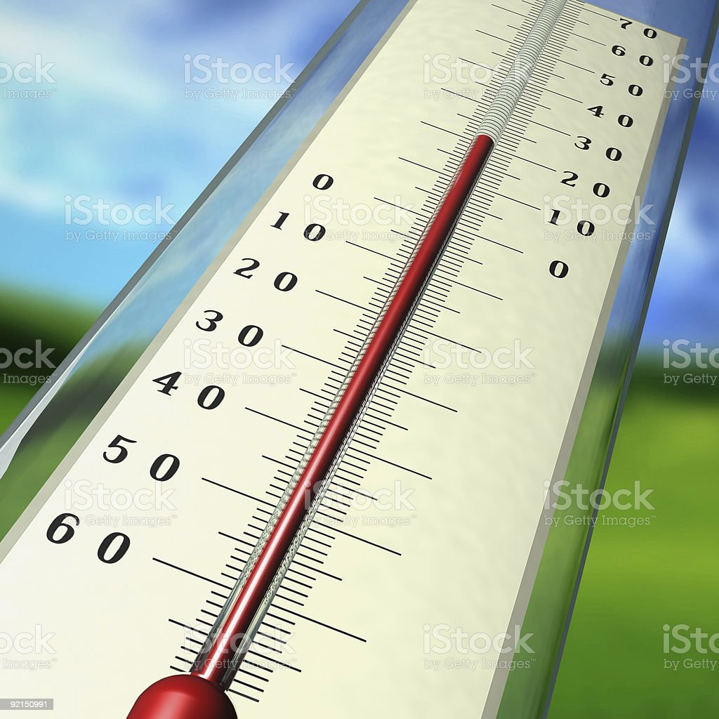 Graphic of a thermometer with a red mercury line reading 20 stock photo