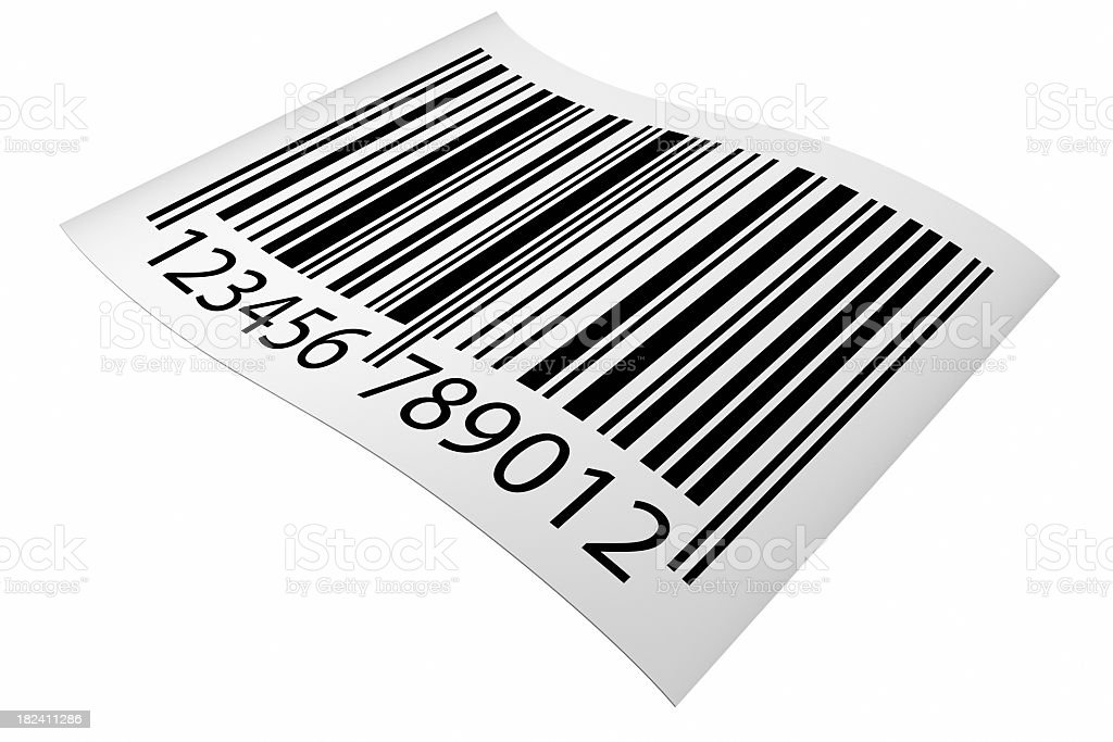 Graphic of an angled barcode sticker stock photo