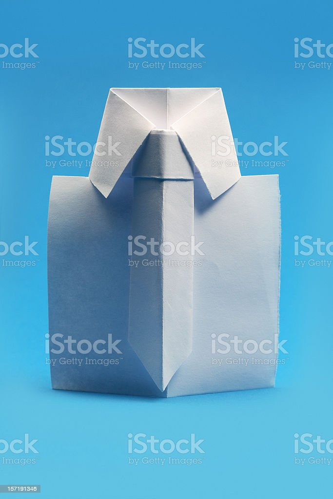 Graphic of an origami paper fold in shape of a shirt and tie stock photo
