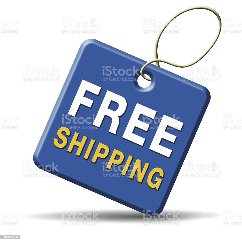 Graphic of blue tag with free shipping written on it stock photo
