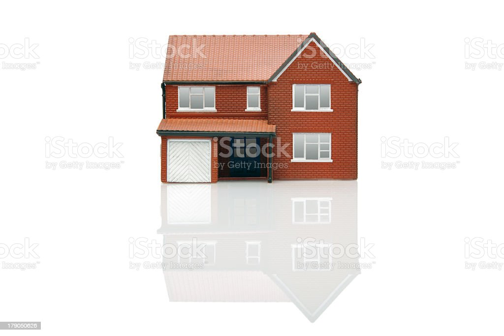 3D graphic of brick house on white background stock photo