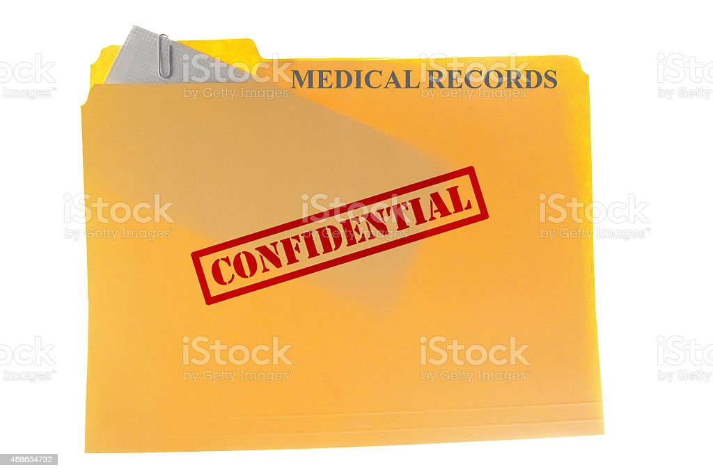 Graphic of confidential medical records stock photo