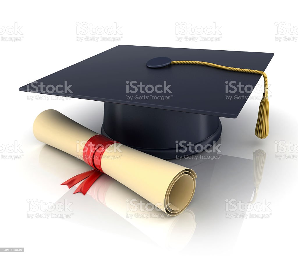 Graphic of graduation cap and rolled diploma stock photo