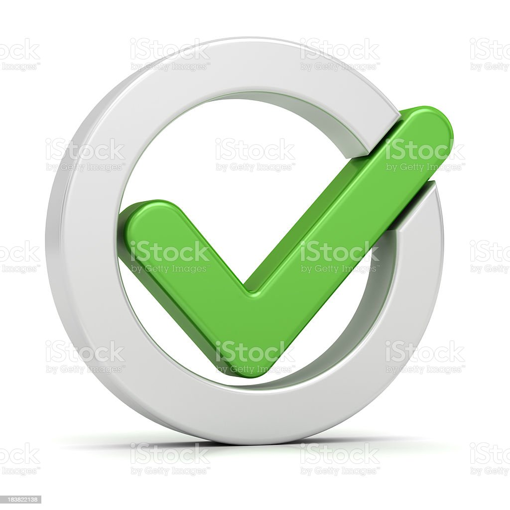 Graphic of large green tick within white circle stock photo