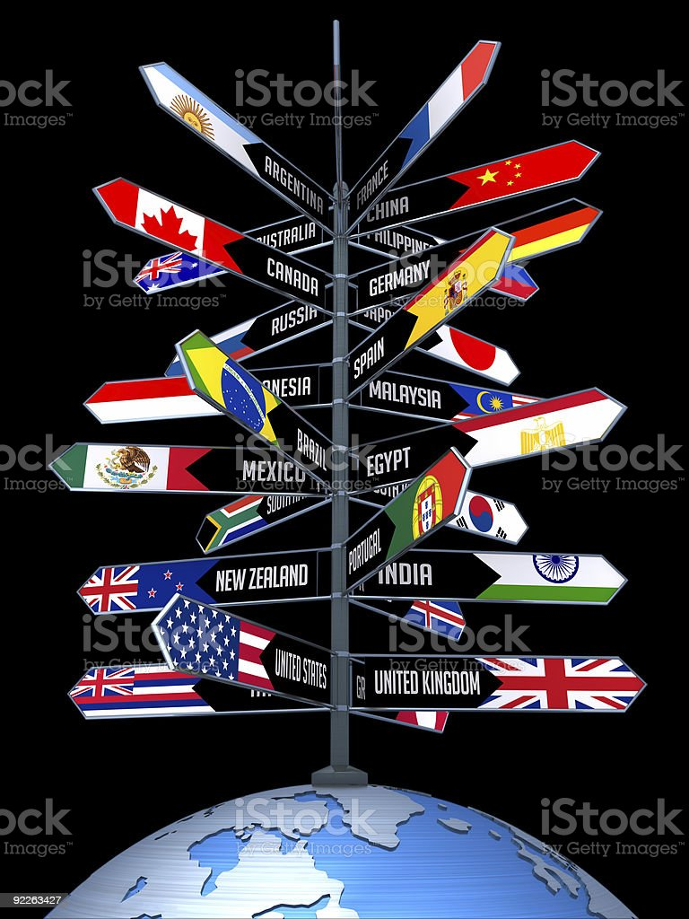 Graphic of many national flags on a single flagpole on globe stock photo