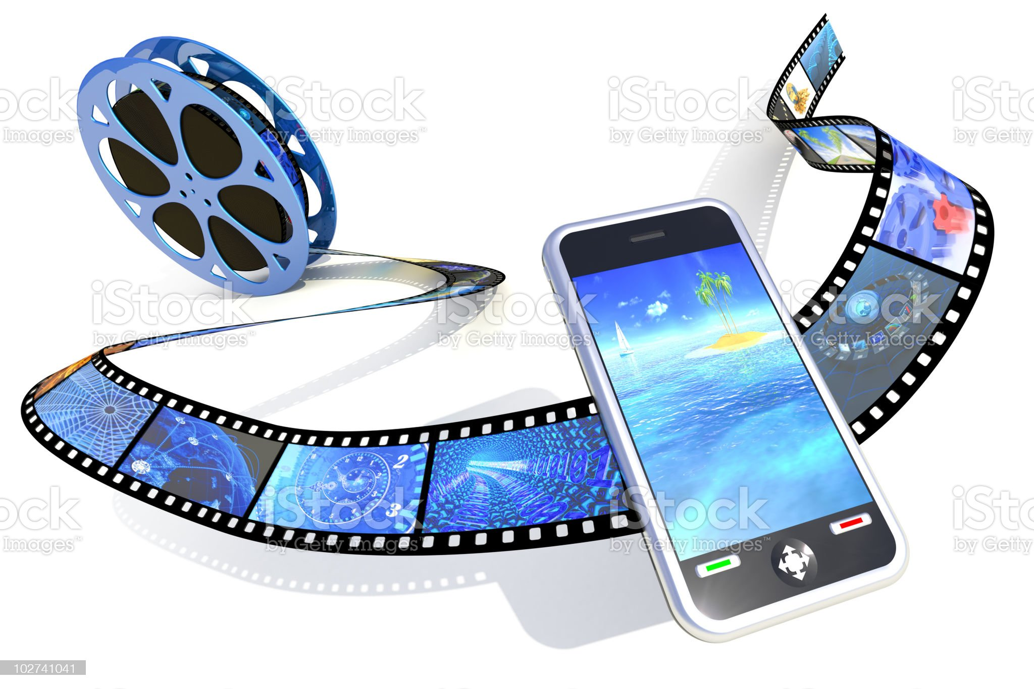 Graphic of movie reel with smartphone in foreground royalty-free stock photo