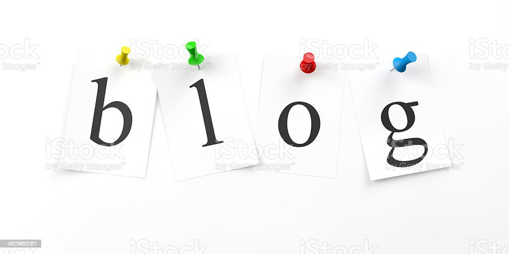 A graphic of pushpins holding the letters of blog stock photo
