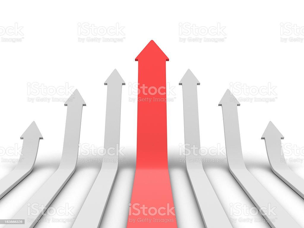 Graphic of red arrow and smaller white arrows pointing up royalty-free stock photo
