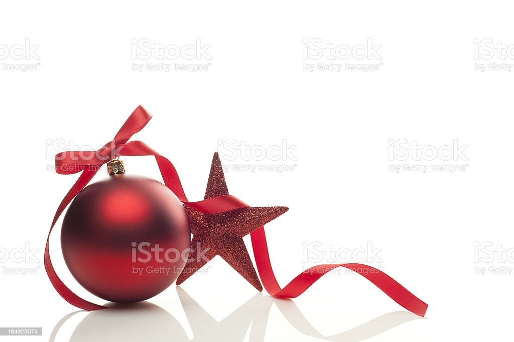 Graphic of red Christmas ornament, ribbon and star royalty-free stock photo