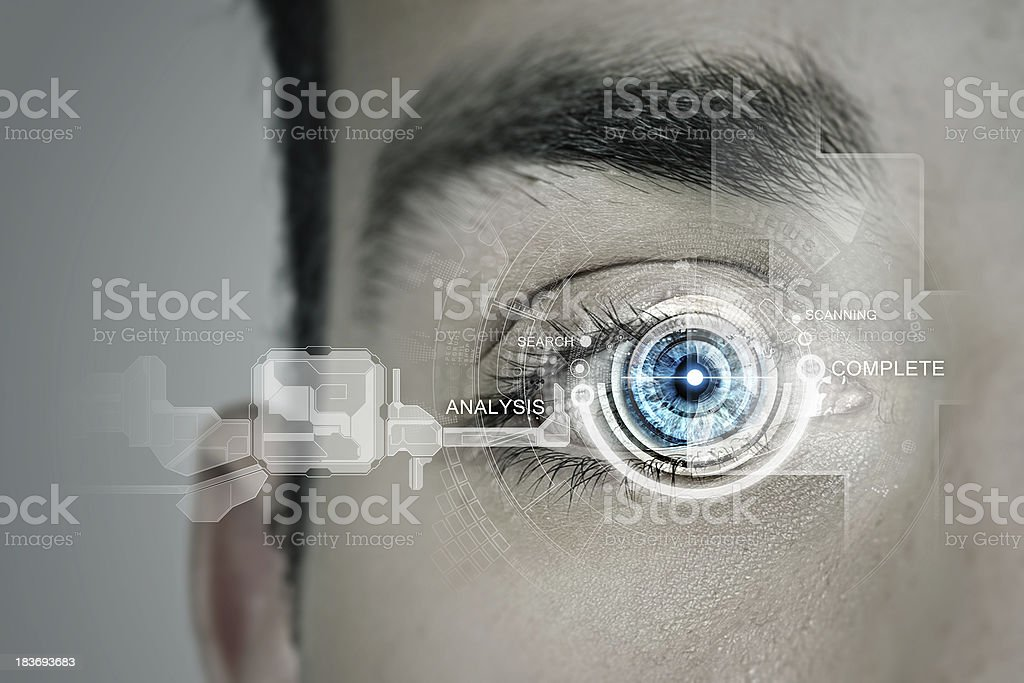Graphic of technology for eye scanning identification stock photo