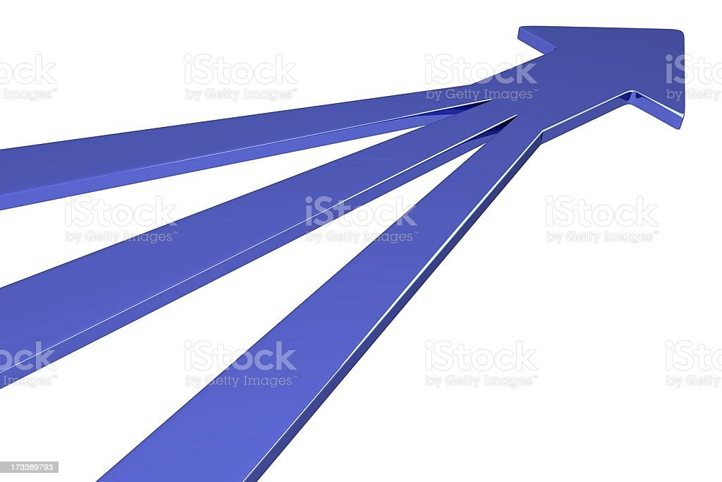 Graphic of three blue arrows converging at a point stock photo
