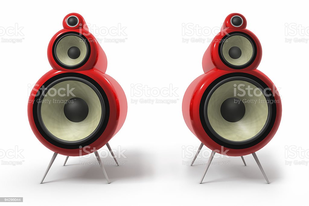 A graphic of two red tube loudspeakers stock photo