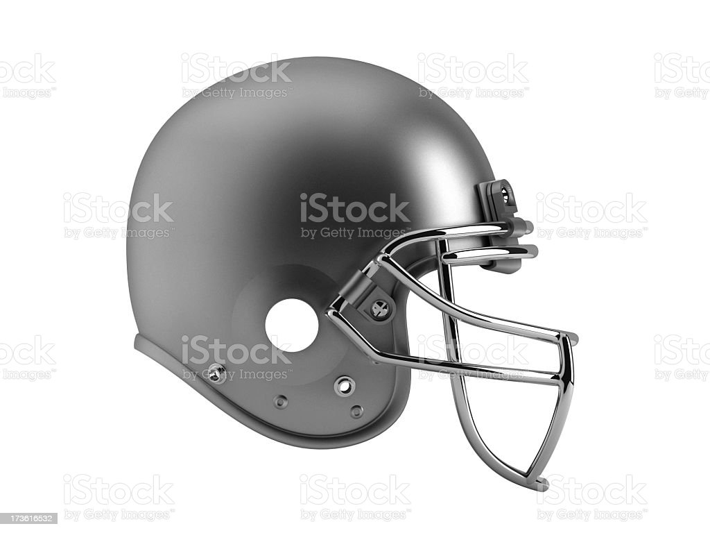 Graphic of unadorned silver football helmet stock photo