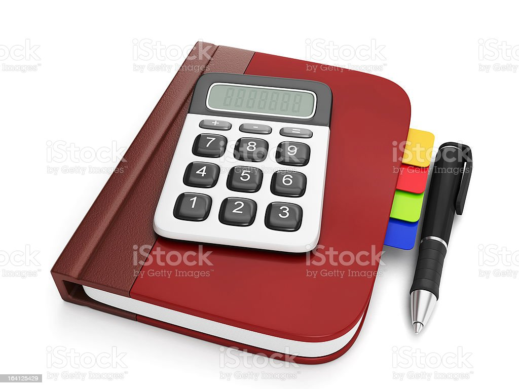Graphic representation of a notepad and calculator royalty-free stock photo