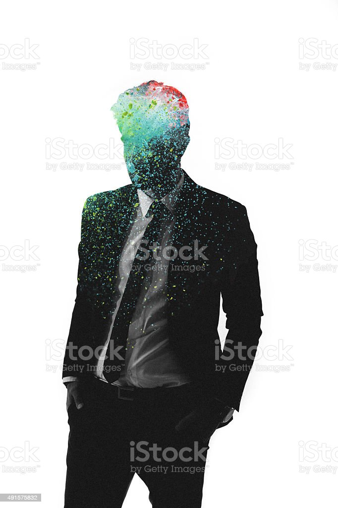 Graphic representation of man with artistic colours in his head stock photo