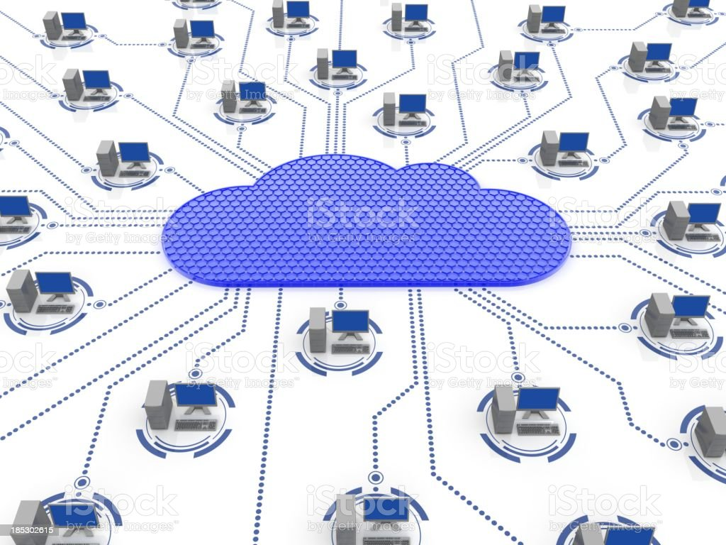 A graphic representing a computer network cloud royalty-free stock photo