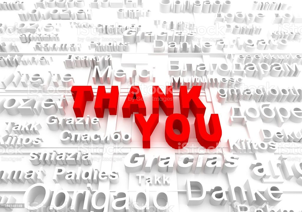 Graphic saying Thank You in various languages stock photo